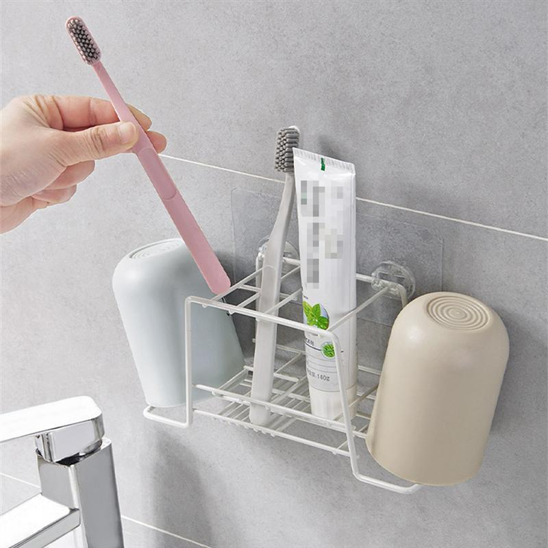 Image 5 - Bathroom Toothpaste Toothbrush Holder Durable Toiletries Storage Rack Shelf Organizer Bathroom Bedroom Kitchen Accessories-in Toothbrush & Toothpaste Holders from Home & Garden
