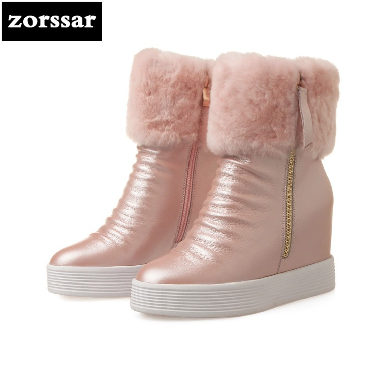 {Zorssar} 2018 Soft Leather High heel ankle boots women snow boots winter Warm plush Womens Shoes platform Booties botines mujer womens faux leather comfortable ankle boots platform high heel booties for women fashion buckle winter dress shoes black white