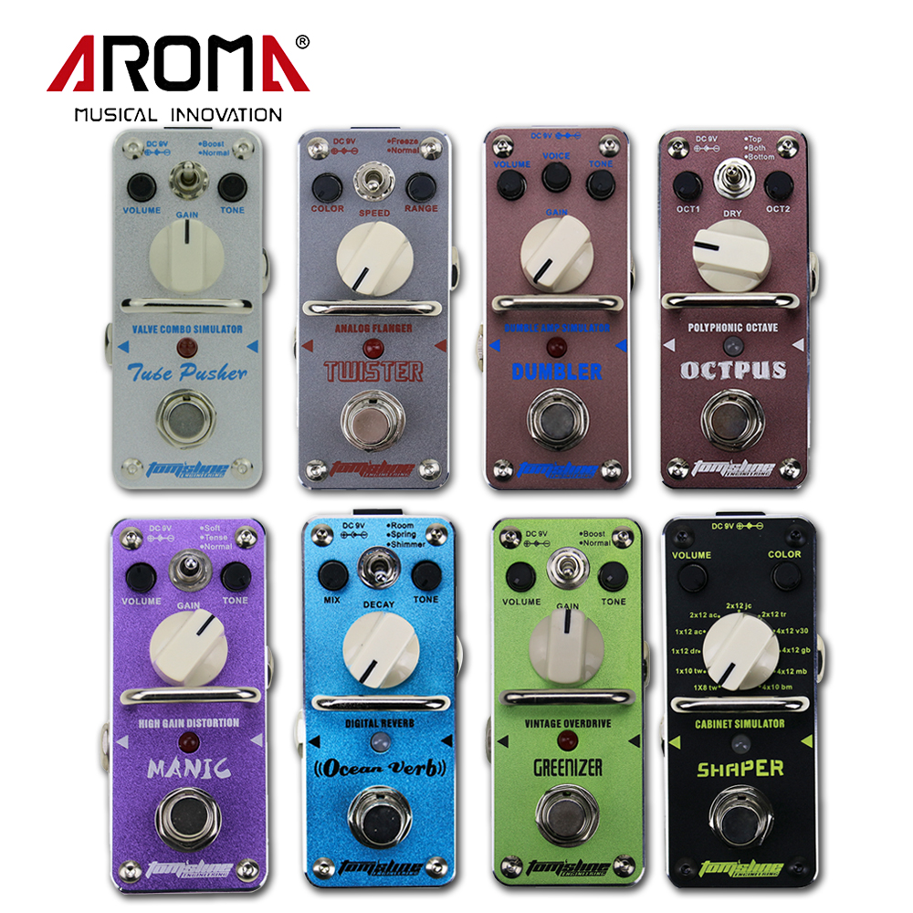 Aroma Octpus/OceanVerb/Shaper/Manic/Tube Pusher/Dumbler/Greenizer/Twister Portable Electric Guitar Effect Pedal and Power Supply