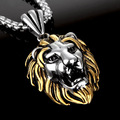 Top High Quality Silver Gold Black Lion Head Pendant Necklace 316L Stainless Steel 40*31mm 30g For Cool Men's Jewelry Free Chain
