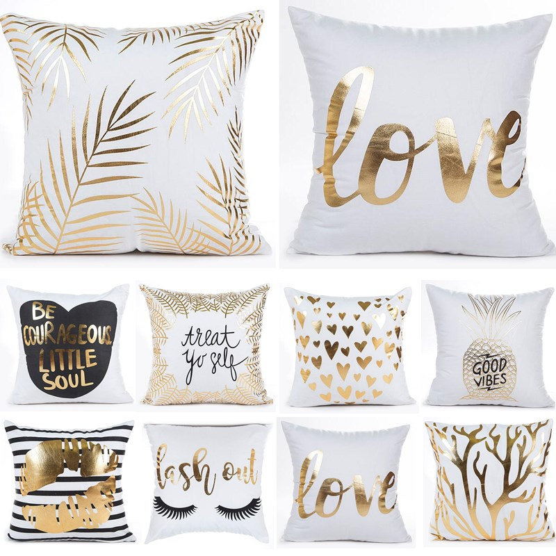 1Pcs 45*45cm Bronzing Geometric Pattern Golden Throw Pillow Cushion Cover Home Decoration Bed Decor Decorative Pillowcase 40499