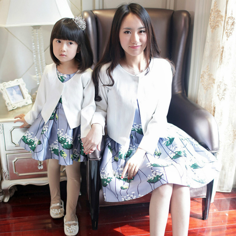 2pcs Mommy and Me Mother Daughter Dresses Family Look Clothing Suits Family Matching Outfits Jacket +dress Spring Autumn Clothes family matching mother daughter mommy and me clothes family look girls fashion clothing women summer dress vintage outfits 41