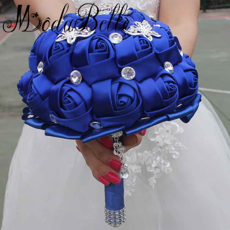 Us 48 0 Modabelle Royal Blue Wedding Bouquets With Crystal Silk Roses Artificial Bridal Bouquet Brides 2017 In