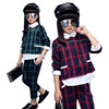 Children Girls Clothing Set Autumn Teenage Girls Sport Suit Plaid Print School Kids Clothes Tracksuit 2pcs