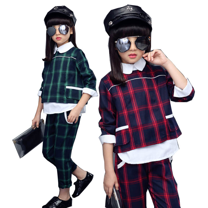 Children Girls clothing sets autumn teenage girls sport suit plaid suit school kids tracksuit for girls clothes two pieces 4~13T 2017 autumn new girls clothes sport suit kids tracksuit owl sweater coat dress two piece children clothing set 4 13 kids clothes
