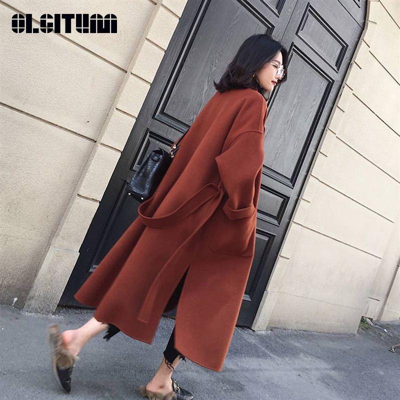 New 2020 Women Woolen Coat Thicken Long Sleeve Medium-long Turn-down Collar Open Front Parka Belt Coat
