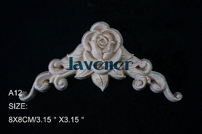 A12-8x8cm Wood Carved Corner Onlay Applique Unpainted Frame Door Decal Working Carpenter Flower