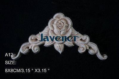 A12-8x8cm Wood Carved Corner Onlay Applique Unpainted Frame Door Decal Working Carpenter Flower