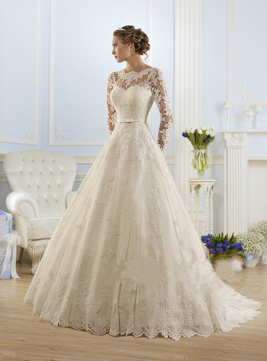 Luxury Long Sleeve Lace Appliques Low Back Wedding Dress 2017 A-line vestido de noiva Wedding Dresses vestido de noiva(China (Mainland))