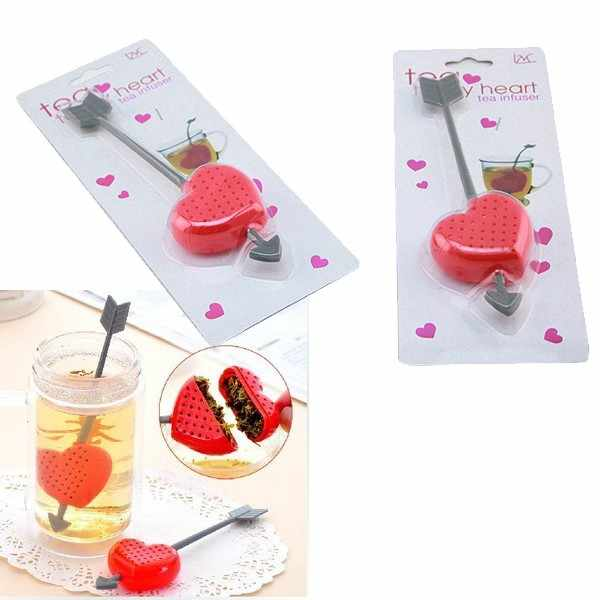 1pcs Red Love Heart Style Teacup Teapot Tea Strainer Bag Infuser Filter Tea Bag Gift Big Sale