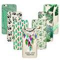 Verde suave de silicona tpu case para iphone 7 couqe 4 4S 5 5S SÍ 5C 6 6 S Plus Fundas Cubierta de Silicona Panada Dreamcatcher Cactus