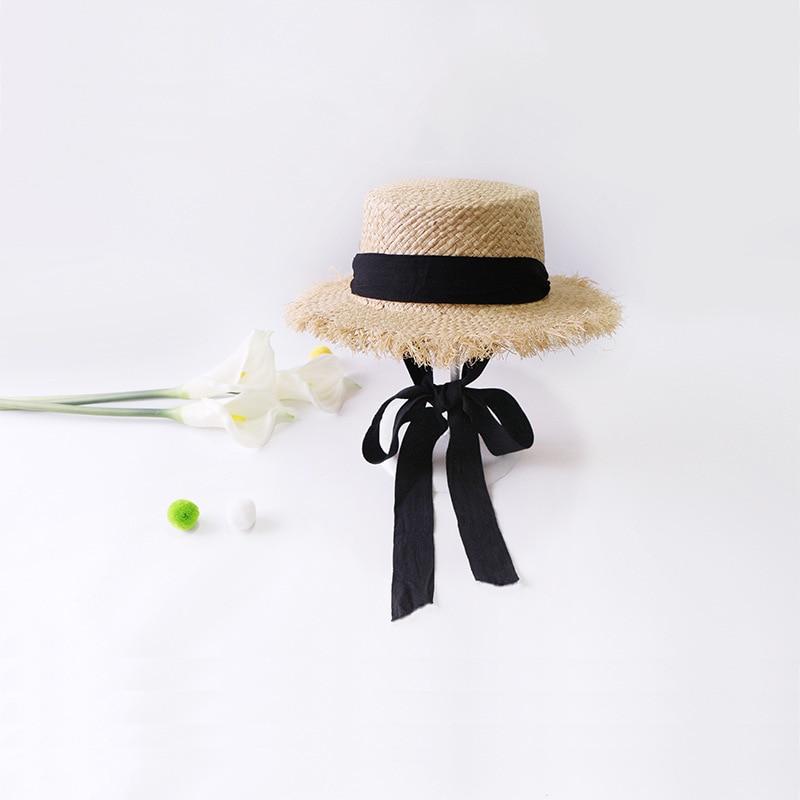 3321279f6e0be 2018 New Woman s Sun Hats Female Bowknot Visor Caps Hand Made DIY Straw  Summer Cap Casual Shade Hat Empty Top Hat Beach