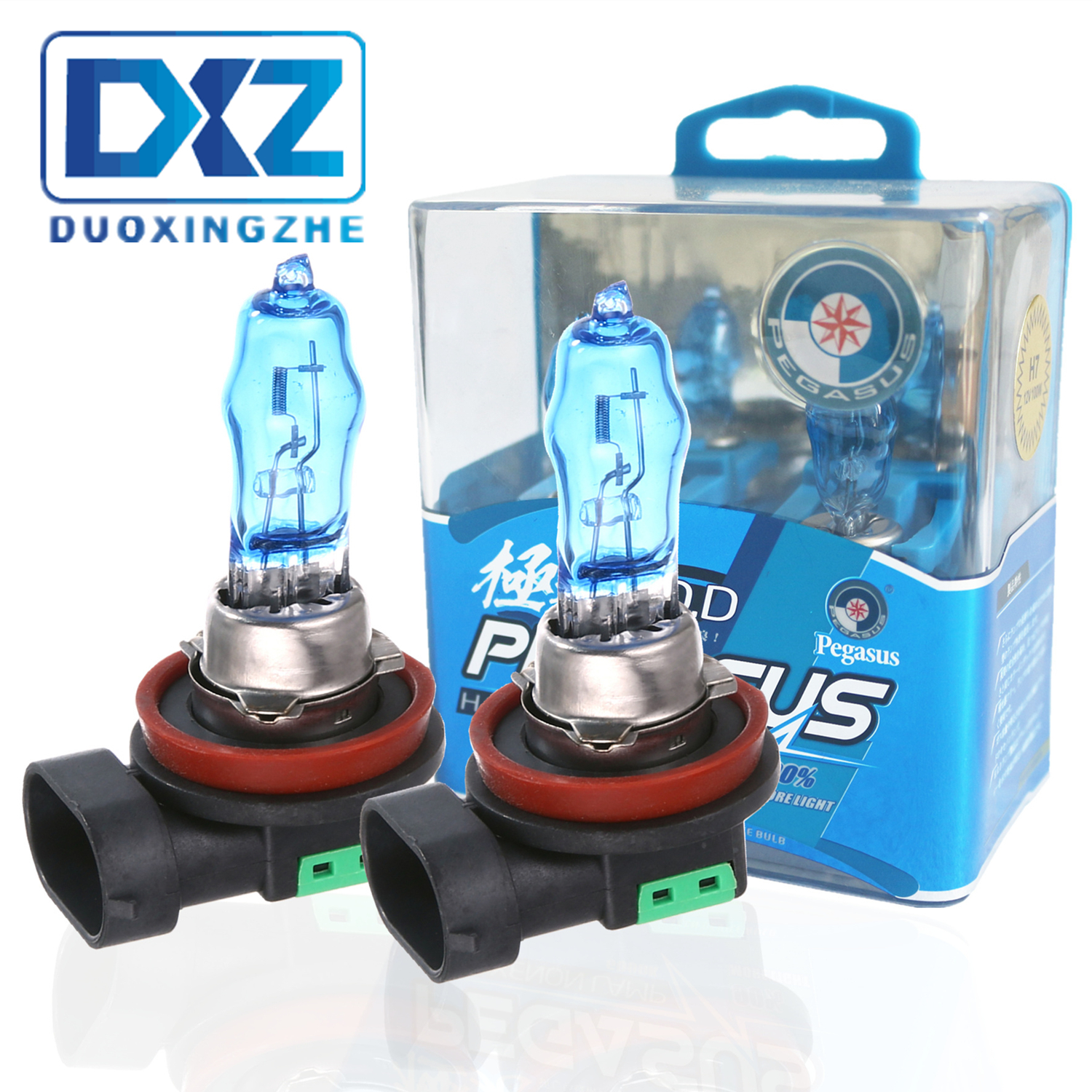 DXZ 2Pcs H8 H9 12V 100W 6000K Car HOD H11 Super White Halogen Light Source Bulbs Auto Headlights Lamp Automobile Fog Light Bulbs