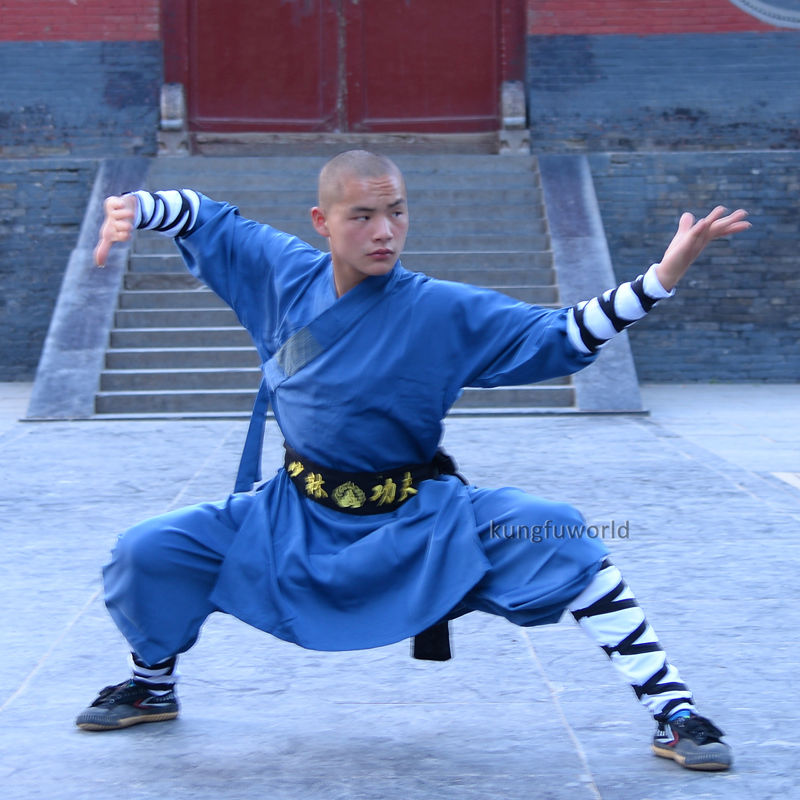 Blue Cotton Blends Shaolin Uniform Kung fu Tai chi Clothes Martial arts Karate Taekwondo Suits master recommend movement triangle frame wing chun wooden dummy donnie ye used standard kung fu wooden dummy martial arts