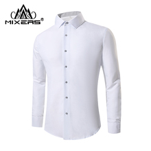 PARKLEES Leaves Embroidery Transparent Slim Fit Sexy See Through Clubwear Dress Shirt