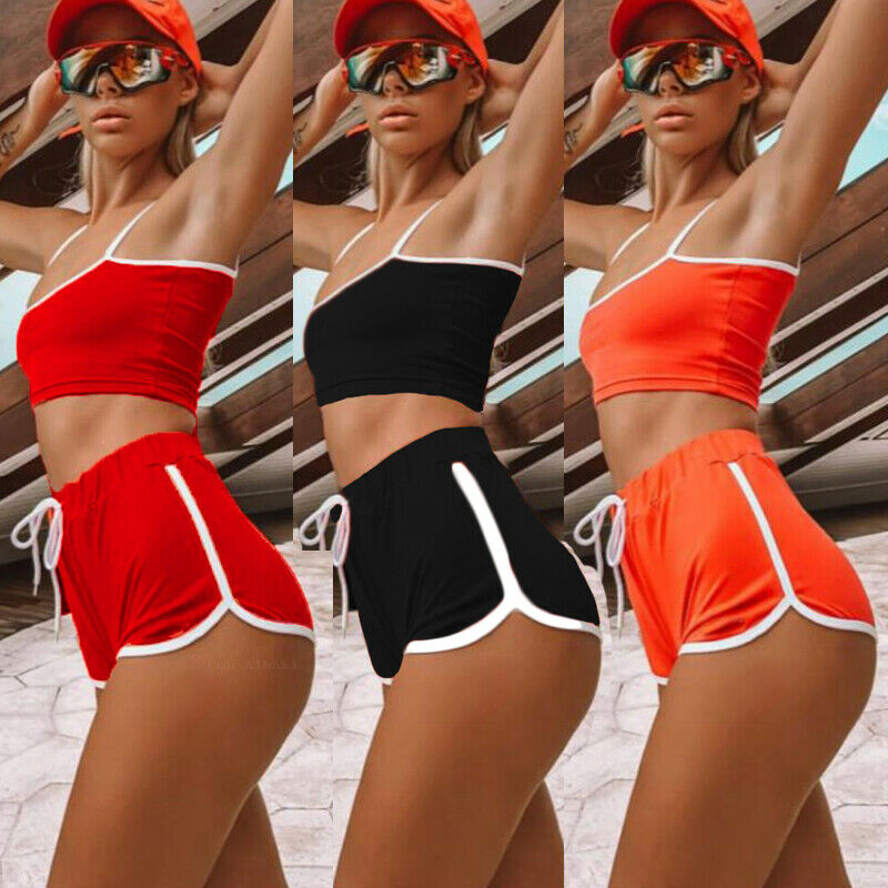 Women Sexy Patchwork Yoga Suit Workout Sports Yoga Set String Vest Short Crop Tops + Hot Shorts Pants Athletic Short Sets Hot