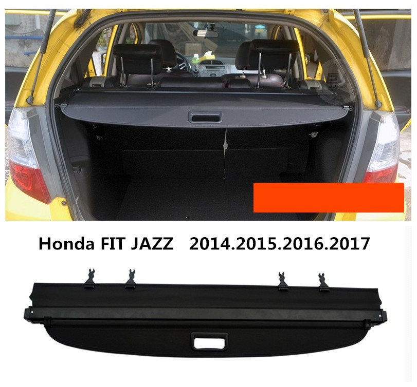 Car Rear Trunk Security Shield Cargo Cover For Honda FIT JAZZ 2014.2015.2016.2017 High Qualit Black Beige Auto Accessories car rear trunk security shield cargo cover for mitsubishi outlander 2013 2014 2015 high qualit black beige auto accessories