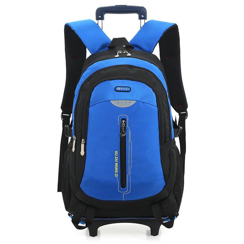 ФОТО 2017 New Style Removable Trolley School Bag Boys Large Capacity Waterproof Canvas Wheeled Backpack School Children Book Bag