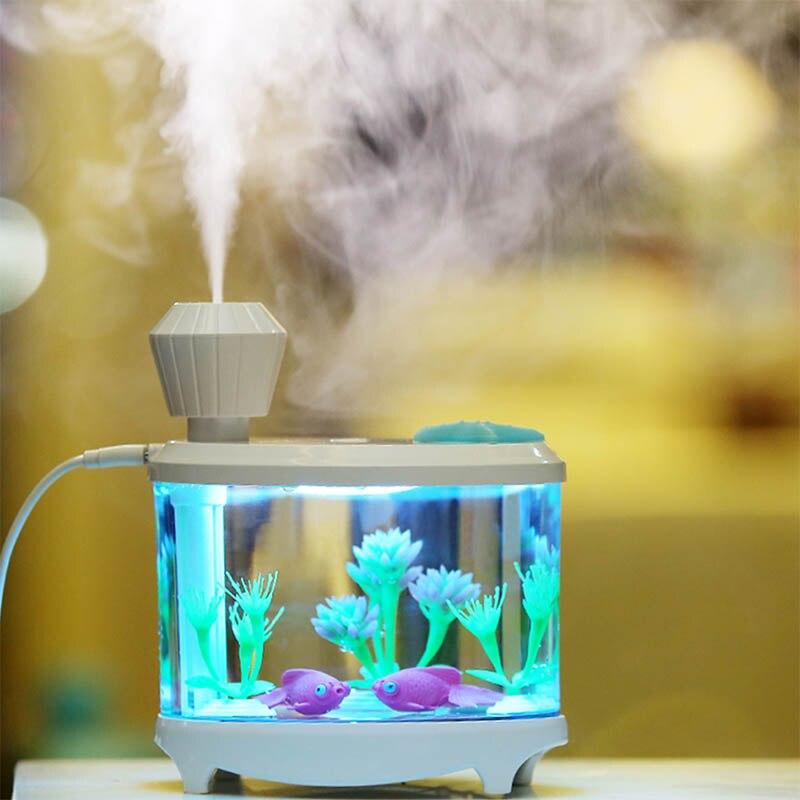 ultrasonic air humidifier air freshener Fish Tank mini USB Humidifier Light <font><b>led</b></font> Air purifier Aroma Diffuser Mist Maker For Home