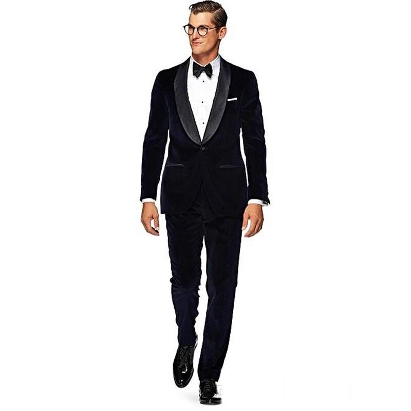 Fashion Groom Men Wear Black Velvet Tuxedos 2017 New Wedding Suits For Men 2 Peices Mens Suits (Jacket+Pants+bowtie)
