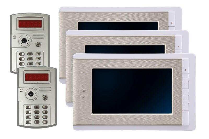 7 Inch LCD Color Video Door Phone Doorbell Intercom Entry System Kit Unlock Night Vision Monitor and Rainproof IR Camera 2V3