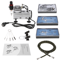 Nasedal NT 12 Airbrush Compressor Auto Stop function Compressor with 3 Dual Action Spray guns for Art Painting Nail Tattoo