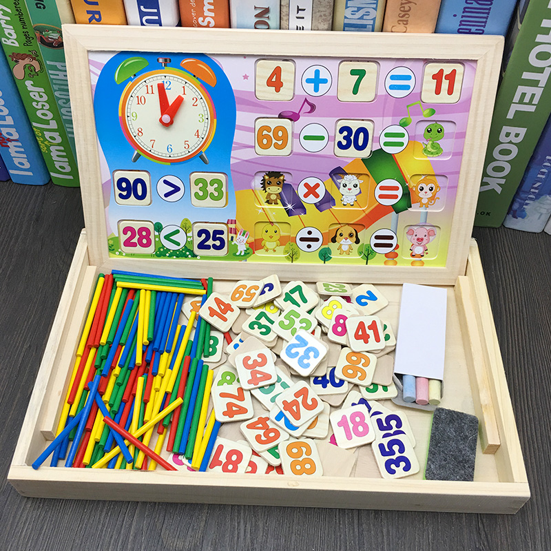 Toys & Hobbies Jaheertoy Mathematical Computing Wooden Toys For Children Montessori Educational Toy Temporal Cognition Small Blackboard Customers First