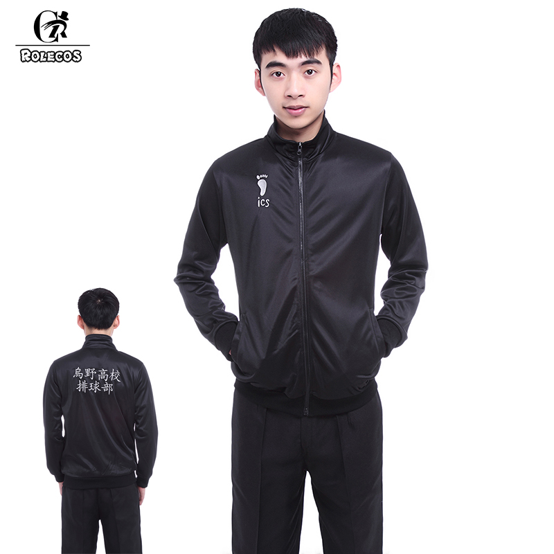 ROLECOS Anime Haikyuu Jas Zwart Haikyuu Cosplay Karasuno High School Volleybal Club Unisex Cosplay Kostuums Mannen Jas