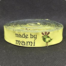 Free Shipping wholesale 5/8 '(16 mmx10yards) 100% Polyester Woven Jacquard Ribbon yellow made by mami owl lace