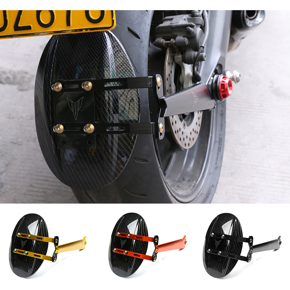 Motorcycle CNC Aluminum Alloy Carbon Fiber Rear Fender Cover Mudguard With Mounting Bracket For Yamaha MT-09 MT09 FZ09 14-17 motoo cnc aluminum rear tire hugger fender mudguard chain guard cover for yamaha mt07 mt 07 2013 2017 fz07 2015 2017