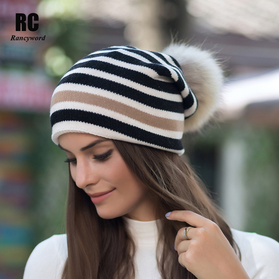 [Rancyword] Striped Winter Wool Knitted Hats Beanies Skullies Real Fur Pom Poms Skullies Hat For Women Girls Hat Feminino RC1227 skullies beanies newborn cute winter kids baby hats knitted pom pom hat wool hemming hat drop shipping high quality s30