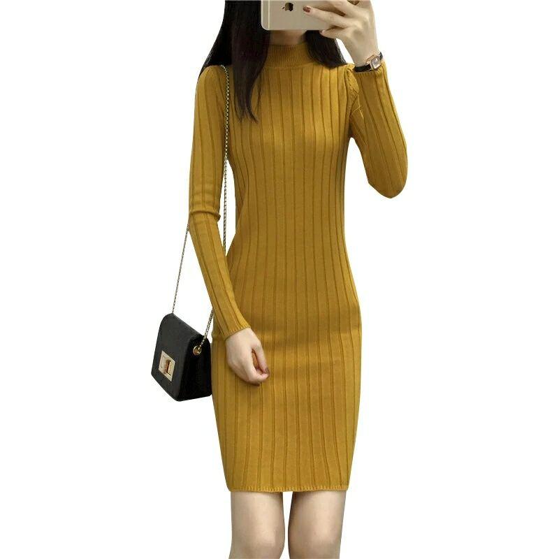 7b9f6c76772dd High Quality Autumn Winter Warm Women Basic Sweater Dress Fashion Rib Slim  Knitted Wool Dress Long