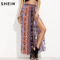 SHEIN Long Skirts For Women Multicolor Boho Style Clothes Women 2018 European Fashion Women Tribal Print