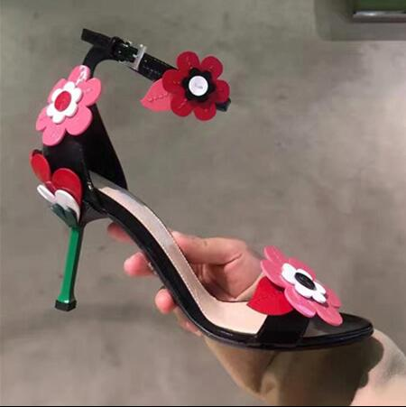 Summer shoes women 2017 sexy high heel sandals red flowers decoration open toe sandals for women ankle strap Superstar shoes sexy spaghetti strap open back chiffon romper for women
