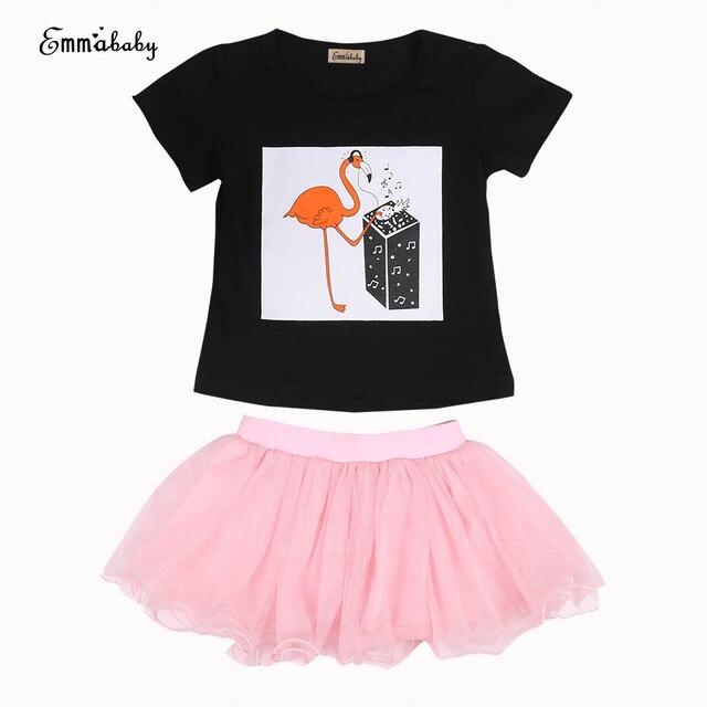 ecfbf740ed94 2017 Toddler Baby Girl Clothes Short Sleeve Outfit Flamingo Printed T-shirt  Tops+tutu Skirts Mesh Short Mini Dress Skirt