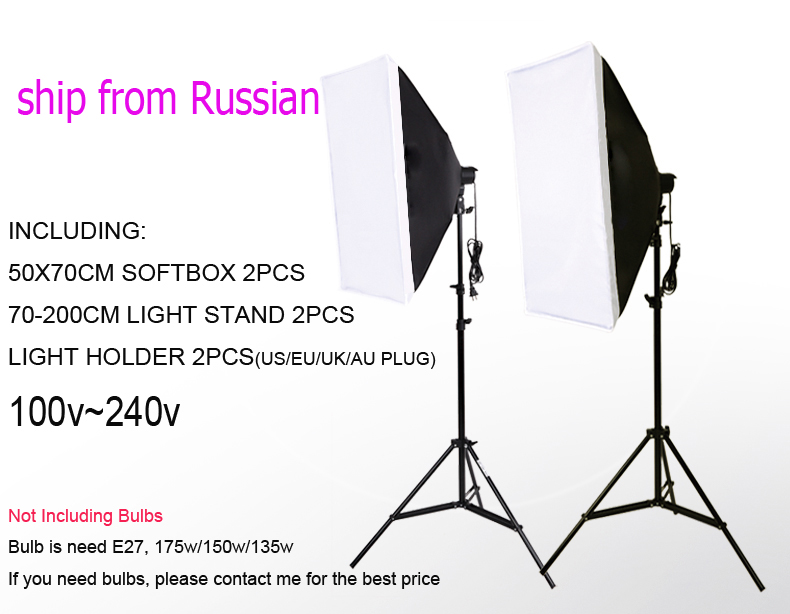 Ship From Russian single lamp softbox photo light softbox set photographic equipment Photo Studio light stand kit tripod kit