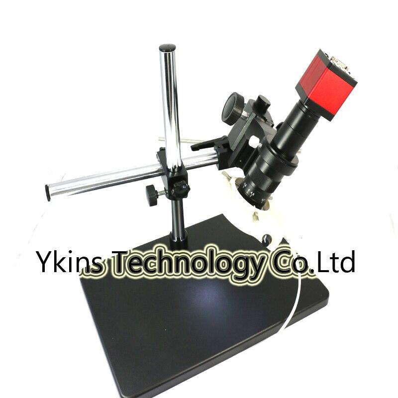ИК 13MP HDMI VGA выходы промышленный микроскоп камера + 10X-180X Zoom C-mount объектив стекло + двойная рука поддержка + светодио дный 56 светодиодные кольца ...