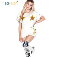 HAOYUAN Gold Silver Star White Casual Summer Dress 2018 New Robe Sexy Beautiful Dresses Women Short