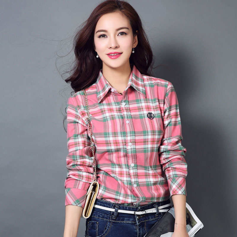 Women's Clothing Xs-3xl New Women Shirt Spring 2019 Autumn Casual Loose Sanded Plaid Shirt Tops Girl Outerwear Cotton Shirt Female Free Shipping