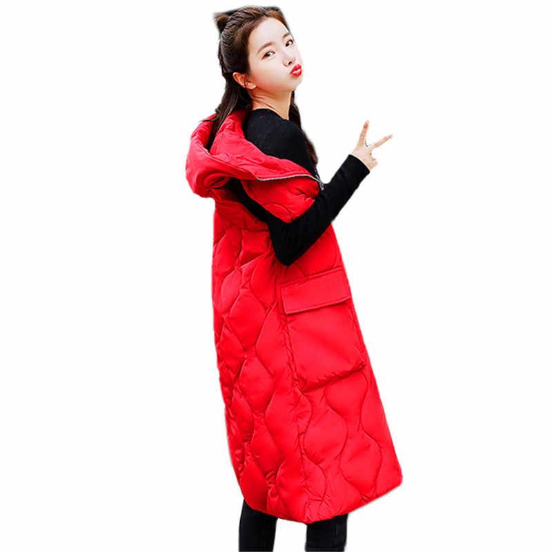 Одноцветное Цвет свободные с капюшоном перья хлопок Жилеты женские 2018 осень-зима новые модные длинные хлопковые пальто черный, красный молнии Жилеты 328