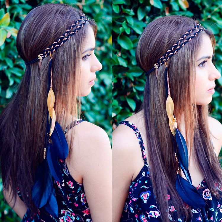 Hot Bohemia Women Feather Headband Beads Double Layer Metal Chain Hair Rope Head Hair Band Carnival Festival Hair Accessories hot sale beads