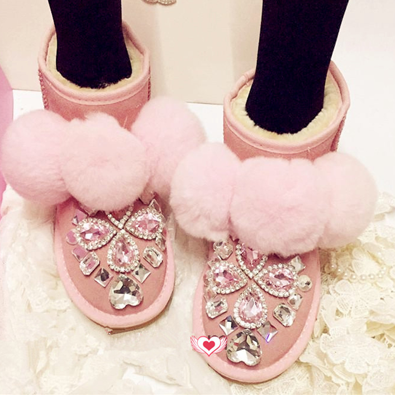 Free Shipping pink Rhinestone crystal bowknot baby girl's bling kids Snow Boots children warm rabbit fashion Winter shoes