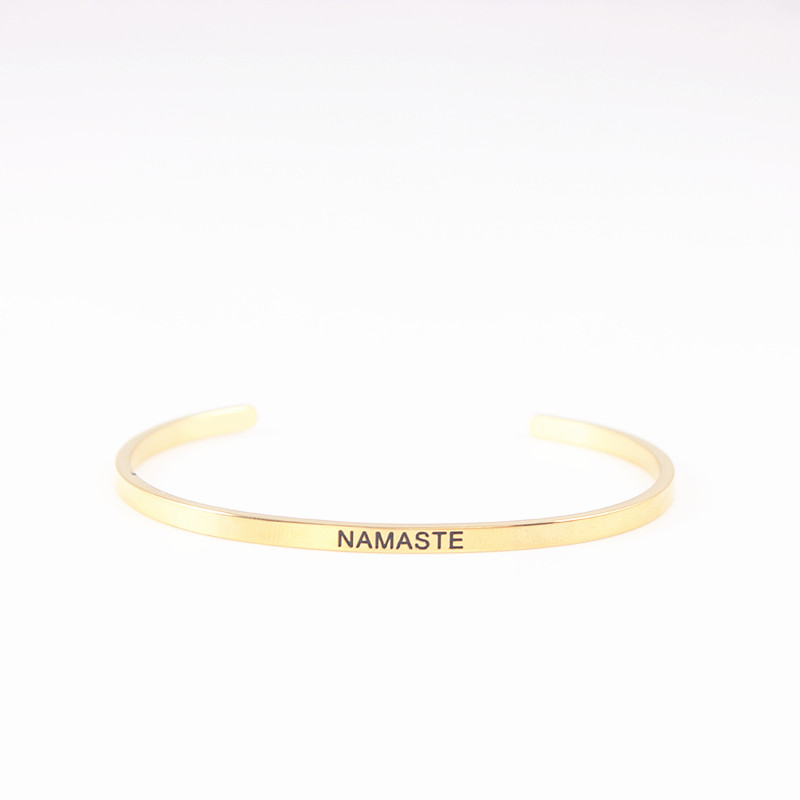 quot NAMASTE quot 316l Stainless Steel Bar Engraved Positive Inspirational Quote Cuff Mantra Bracelet Bangle For Men Best Gifts in Bangles from Jewelry amp Accessories