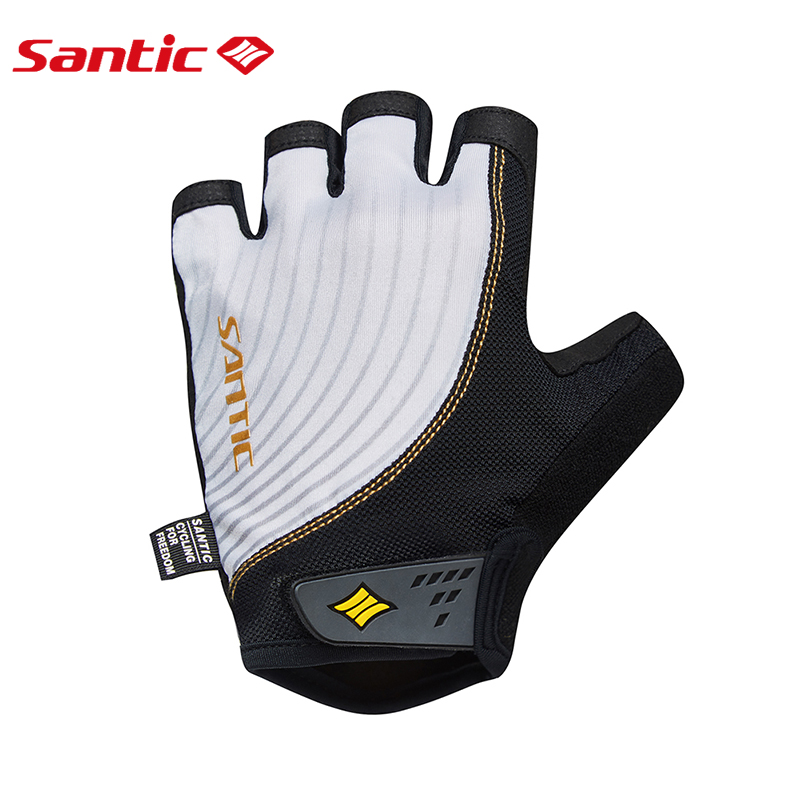 Santic Men Cycling Gloves Half Finger MTB Road Bike Gloves Non-slip Padded Summer Breathable Sport Gloves Bicycle Accessories batfox women cycling gloves female fitness sport gloves half finger mtb bike glove road bike bicycle gloves bicycle accessories