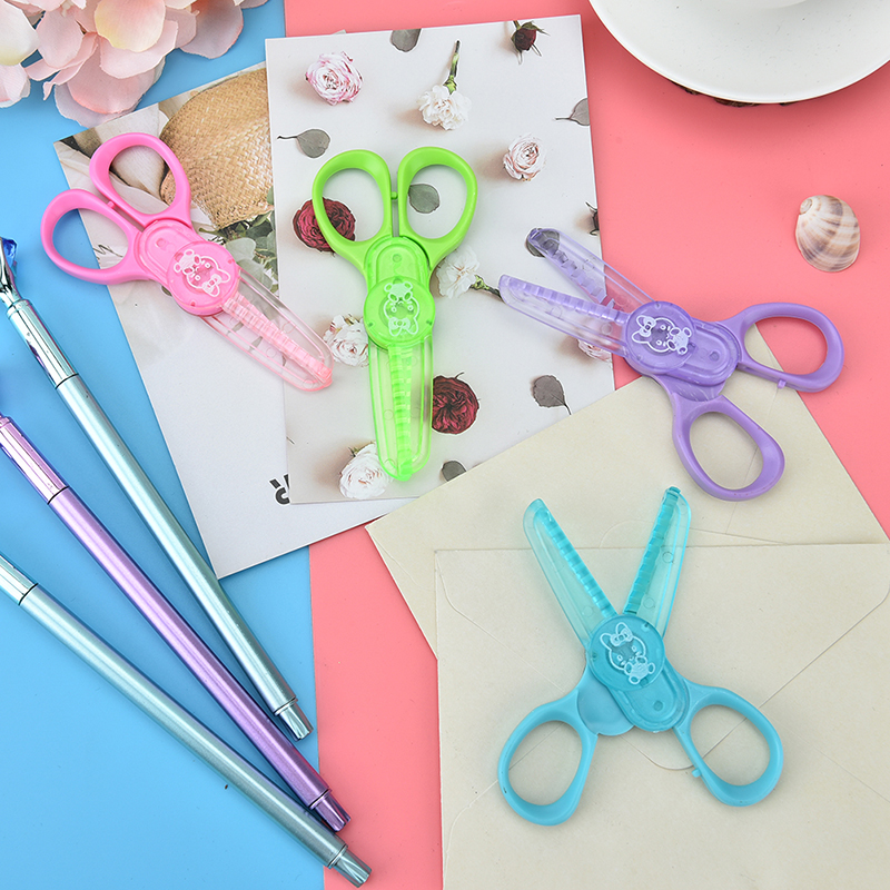 Children Plastic Mini Safety Scissors Handmade DIY Photo Album Laciness Scissors Tesoura Paper Lace Diary Decoration