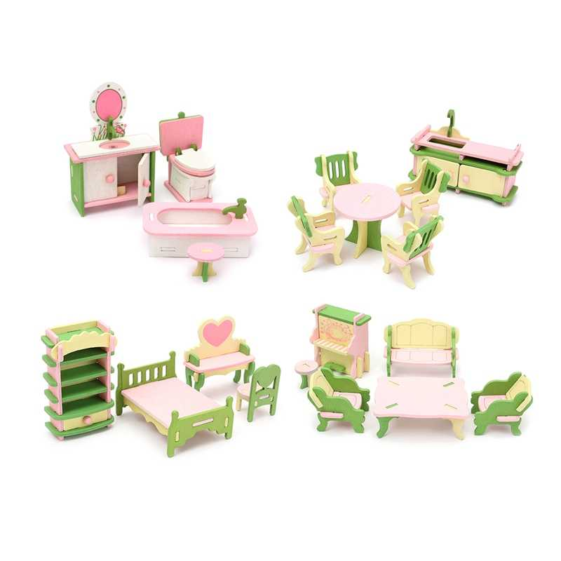 Neweat Wooden Delicate Dollhouse Furniture Toys Miniature For Kids Children Funny Pretend Play Toys Role Playing Toy With Box