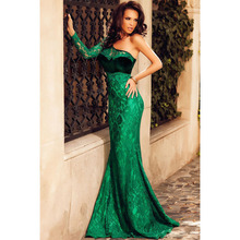Classic elegent summer party ball ball night ceremony dinner sloping shoulder long sleeve lace green dress mermaid long dress