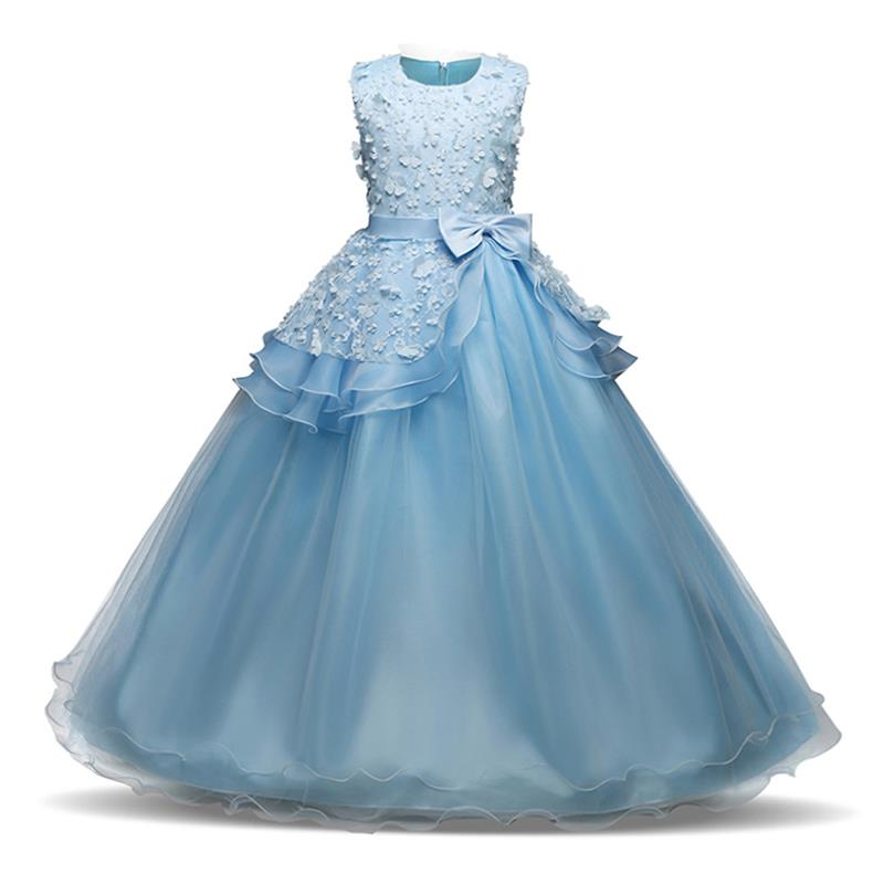 Flower Girl Long Dress Christmas Party Wear Kids Clothes Party Dresses For Girl Frocks Children`s Costume Teenage Girl Ceremony