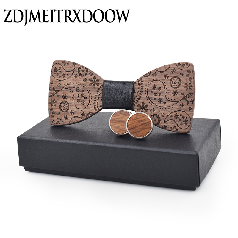 New Fashion Accessories Plaids Womens Mens Bowknot Bowtie Classic Carved Print Wood Creative Bow Ties Necktie Wedding Party Set
