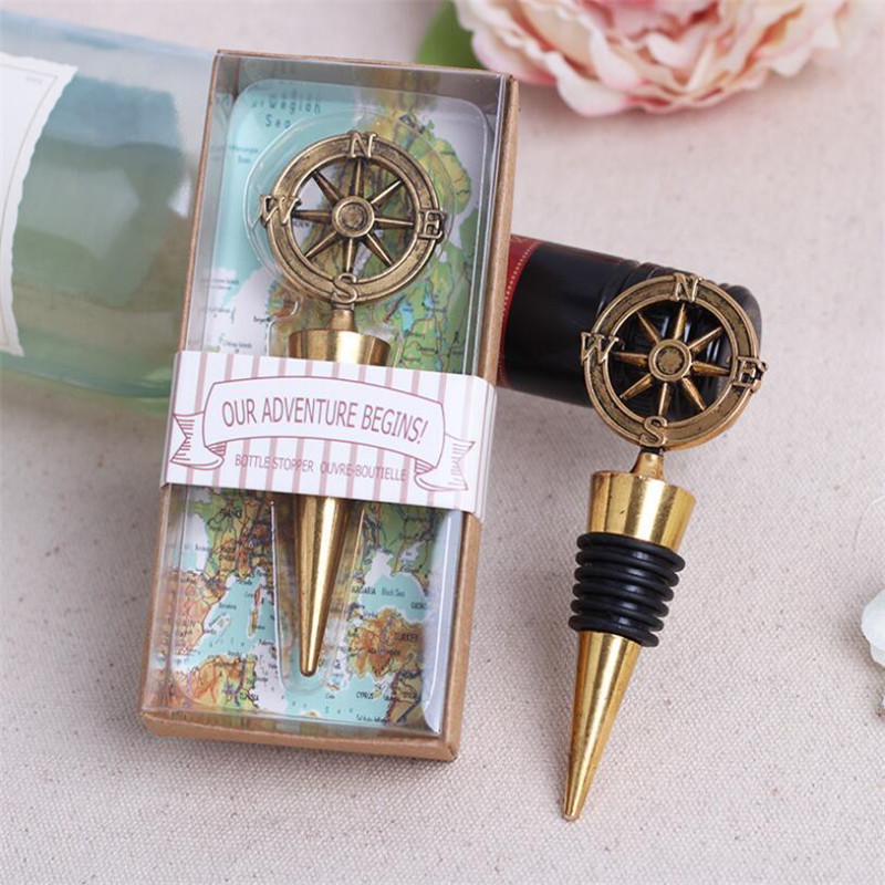 Wedding Wine Bottle Gifts: 50pcs Golden Compass Wine Stopper Wedding Favors And Gifts